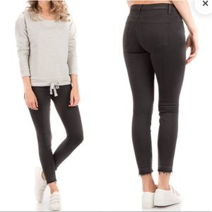 Current Elliot skinny frayed hem crop gray jeans